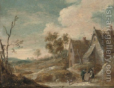 A village landscape with peasants conversing by (after) David The Younger Teniers - Reproduction Oil Painting
