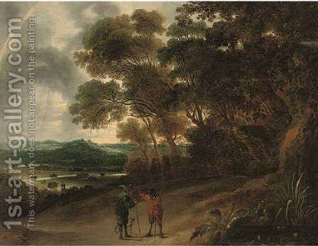 A wooded river landscape with figures conversing on a track by (after) David The Younger Teniers - Reproduction Oil Painting