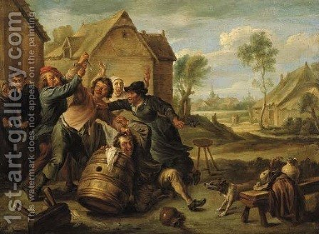 Boors fighting over cards by an inn by (after) David The Younger Teniers - Reproduction Oil Painting