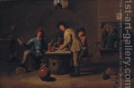 Boors in an Inn by (after) David The Younger Teniers - Reproduction Oil Painting