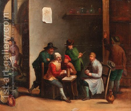 Boors playing at cards in an inn by (after) David The Younger Teniers - Reproduction Oil Painting