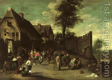 Peasants feasting and dancing outside an inn by (after) David The Younger Teniers - Reproduction Oil Painting