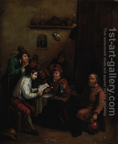Peasants in an interior by (after) David The Younger Teniers - Reproduction Oil Painting