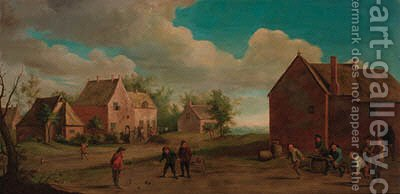 Peasants playing skittles in a village by (after) David The Younger Teniers - Reproduction Oil Painting