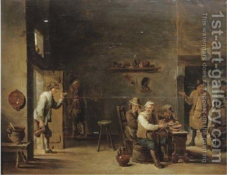 Peasants smoking in an interior with other figures by a fireplace by (after) David The Younger Teniers - Reproduction Oil Painting