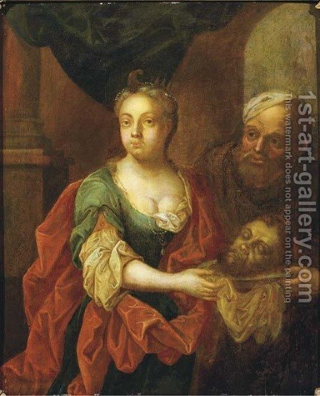 Salome and Herodius with the Head of John the Baptist by (after) David The Younger Teniers - Reproduction Oil Painting