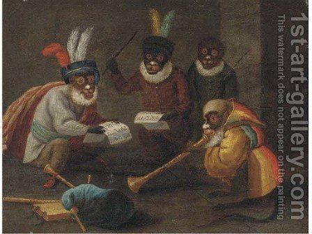 Singeries monkeys dining and making music by (after) David The Younger Teniers - Reproduction Oil Painting