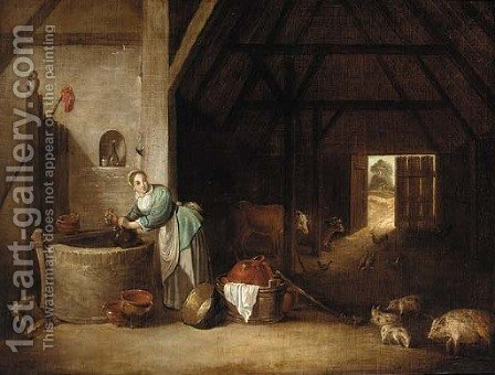 The interior of a barn with a woman at a well by (after) David The Younger Teniers - Reproduction Oil Painting
