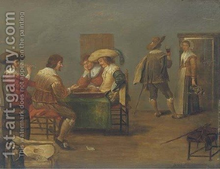 Guardsmen playing tric-trac and drinking in an inn by (after) Dirck Hals - Reproduction Oil Painting