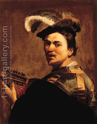 A man playing a lute by (after) Dirck Van Baburen - Reproduction Oil Painting