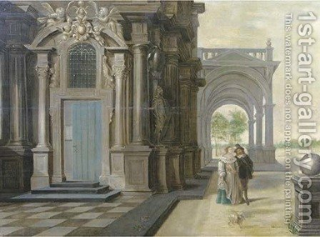 A fantastical palace with an elegant couple walking in front of a portico by (after)  Dirck Van Delen - Reproduction Oil Painting