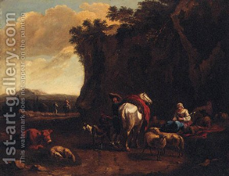 A rocky landscape with drovers resting by a track by (after) Dirk Van Bergen - Reproduction Oil Painting