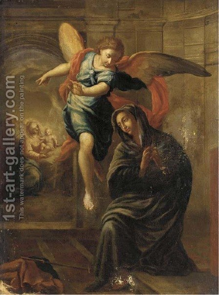 The Annunciation by (after) Domenico Piola - Reproduction Oil Painting