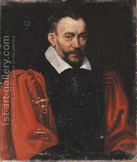 Portrait of a gentleman, bust-length, in a red shirt and black waistcoat by (after) Domenico Tintoretto (Robusti) - Reproduction Oil Painting