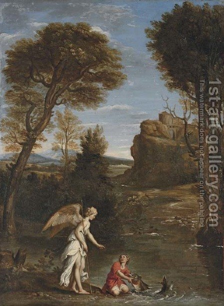 An Italianate landscape with Tobias and the Angel by (after) Domenichino (Domenico Zampieri) - Reproduction Oil Painting