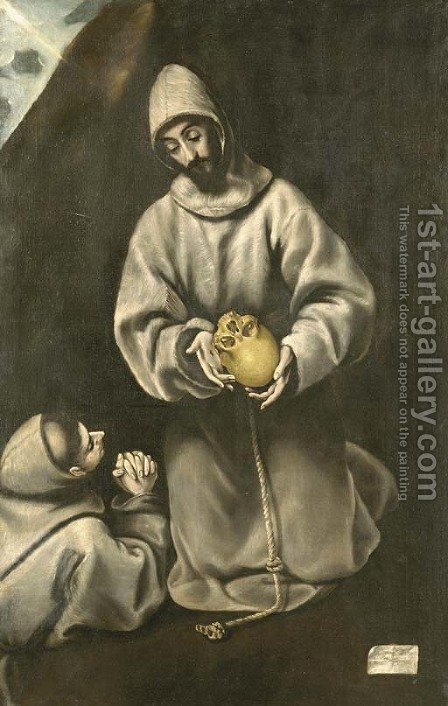 St. Francis and Brother Leo meditating on death by (after) El Greco, Domenico - Reproduction Oil Painting