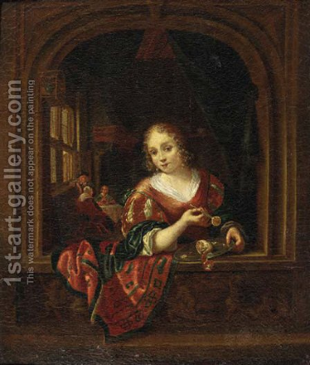A young woman, standing at a stone window, holding a knife with a slice of lemon above a pewter dish by (after) Dominicus Van Tol - Reproduction Oil Painting