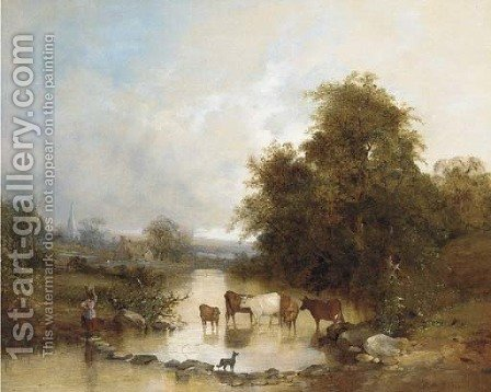 Cattle watering at the stepping stones by (after) Edward Charles Williams - Reproduction Oil Painting