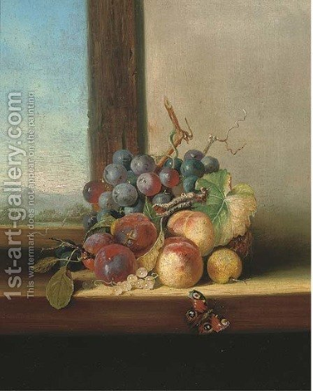 Grapes, plums, nectarines and a butterfly, on a windowsill by (after) Edward Ladell - Reproduction Oil Painting