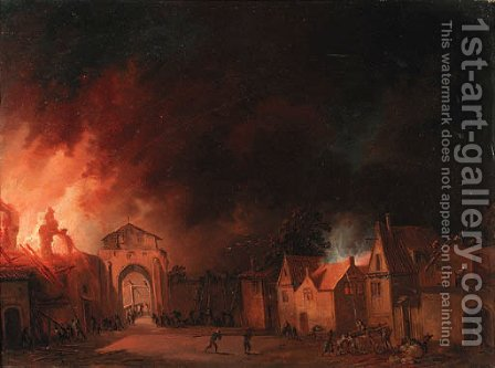 A view of a village on fire by (after) Egbert Van Der Poel - Reproduction Oil Painting