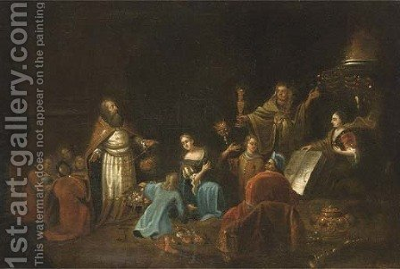 The Idolatry of Solomon by (after) Egbert Van, The Younger Heemskerck - Reproduction Oil Painting