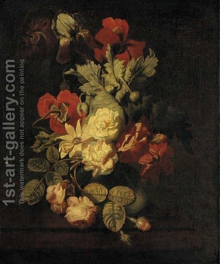 Roses and other flowers in a vase on a ledge by (after) Elias Van Den Broeck - Reproduction Oil Painting