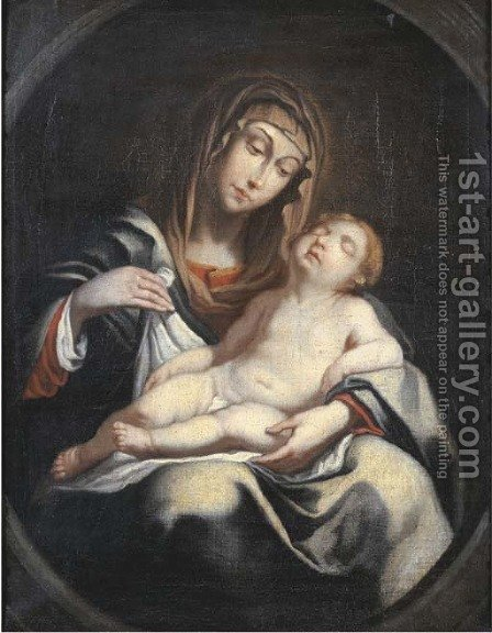 The Madonna and Child, in a feigned oval by (after) Erasmus Quellinus - Reproduction Oil Painting