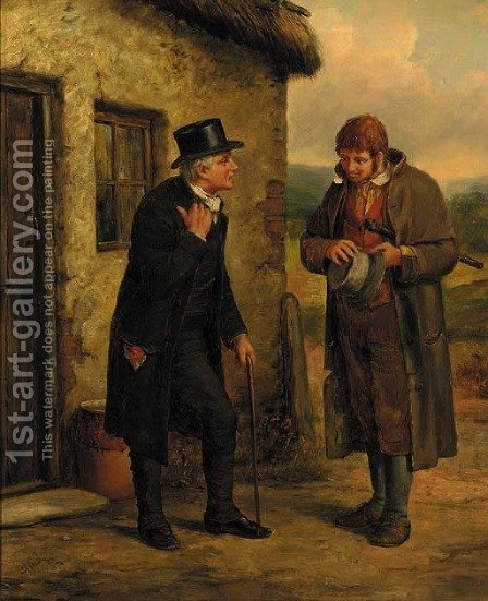 A welcome offer by (after) Erskine Nicol - Reproduction Oil Painting