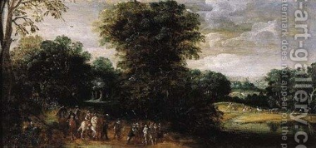 Cavalrymen and infantry escorting a prisoner on a country road by (after) Esaias Van De Velde - Reproduction Oil Painting