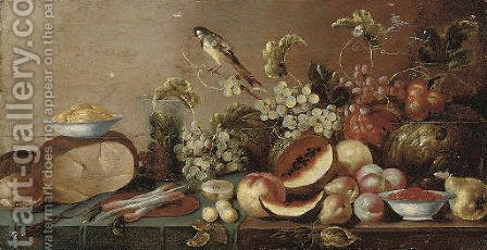 Melons, peaches, pears, grapes on the vine and other fruit by (after) Floris Gerritsz. Van Schooten - Reproduction Oil Painting