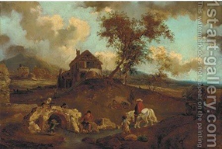 A river landscape with travellers and peasants by a bridge by (after) Francesco Giuseppe Casanova - Reproduction Oil Painting