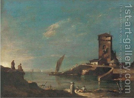A capriccio with a tower, figures in the foreground by (after) Francesco Guardi - Reproduction Oil Painting
