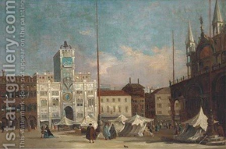 The Piazza San Marco, Venice, looking towards Orologio del Moro by (after) Francesco Guardi - Reproduction Oil Painting