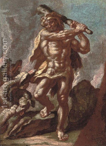 Hercules and Achelous by (after) Francesco Solimena - Reproduction Oil Painting
