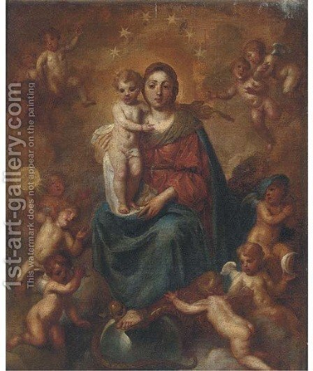 The Madonna and Child Enthroned by (after) Francesco Solimena - Reproduction Oil Painting
