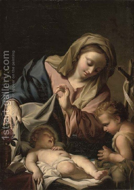 The Madonna and Child and the Infant Saint John the Baptist by (after) Francesco Trevisani - Reproduction Oil Painting