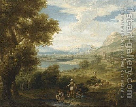An extensive landscape with shepherdesses and washerwomen by a lake by (after) Francesco Zuccarelli - Reproduction Oil Painting