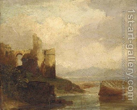 A ruined castle on an estuary by (after) Francis Danby - Reproduction Oil Painting