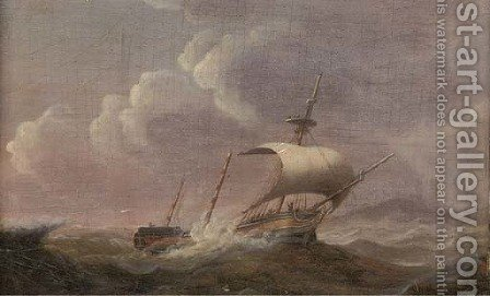 A dismasted merchantman under jury rig off the coast by (after) Francis Sartorius - Reproduction Oil Painting
