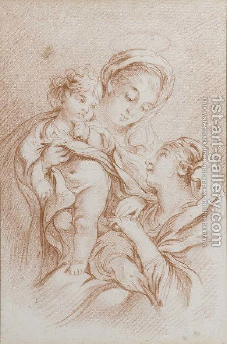 The Virgin and Child with Saint Catherine by (after) Francois Boucher - Reproduction Oil Painting
