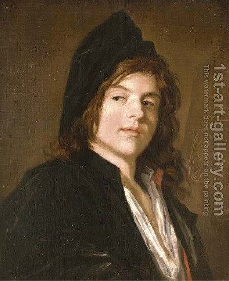 Portrait of an artist in a black cap and coat, standing by an easel by (after) Frans Hals - Reproduction Oil Painting