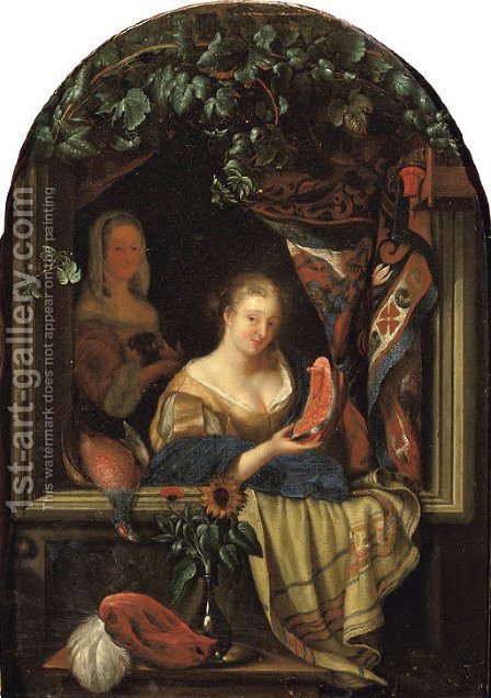A woman at a feigned stone window holding a salmon-steak by (after) Frans Van Mieris - Reproduction Oil Painting