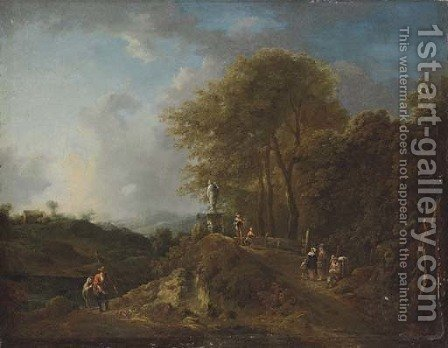 A wooded river landscape with anglers on a track, other figures on a bridge by a statue by (after) Frederick De Moucheron - Reproduction Oil Painting