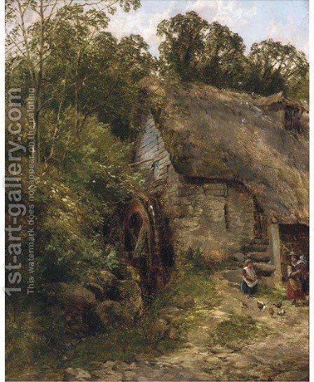 The old water-mill by (after) Frederick Richard Lee - Reproduction Oil Painting