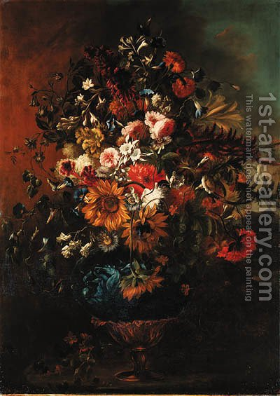 Roses, sunflowers, carnations, morning glory, lilies and other flowers in an ornamental vase by (after) Gabriel De La Corte - Reproduction Oil Painting