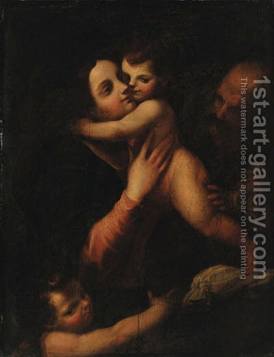 The Holy Family with the Infant Saint John the Baptist by (after) Gaetano Pignoni - Reproduction Oil Painting