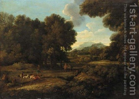 A wooded landscaoe with figures by a lake by (after) Gaspard Dughet - Reproduction Oil Painting