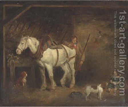 In the stable 2 by (after) George Morland - Reproduction Oil Painting