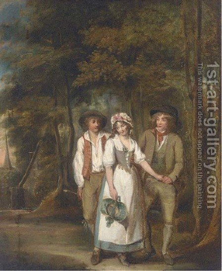 Rustic courtship by (after) George Morland - Reproduction Oil Painting