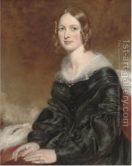 Portrait of a lady by (after) George Richmond - Reproduction Oil Painting